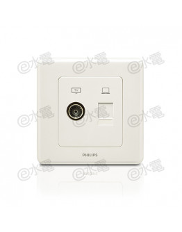 Philips Origamistyle 1 Gang TV + RJ45 Data Socket (White)