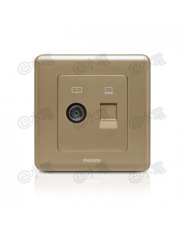 Philips Origamistyle 1 Gang TV + RJ45 Data Socket (CoCo)