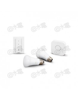 Philips hue White Ambiance 9.5W A60 E27 Starter Kit [2 x 9.5W E27 Bulb (Warm to Cool Daylight) 、1 x Bridge and 1 x Dimmer Switch]