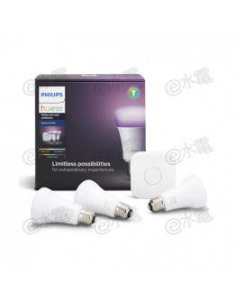 Philips hue hue White and Color Ambiance 10W A60 E27 Starter Kit [3 x 10W Hue E27 Bulb (White and Color) and 1 x Hue Bridge]