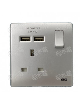 British General PCSL21U2 13A 1 Gang Switched Socket with 2x 2.1A USB Port (Silver)