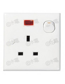 Schneider Electric E30 13A 1 gang switched socket outlet with neon