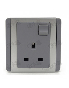 Schneider Electric Neo / E3000 13A 1 gang Switched Socket Outlet (Grey Silver)