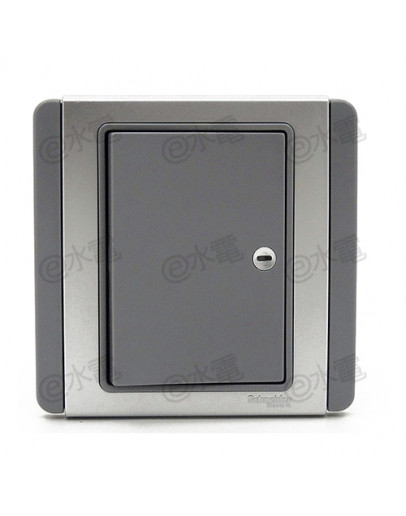 Schneider Electric Neo / E3000 10A 1 gang 1 way horizontal dolly switch with Blue LED (Grey Silver)
