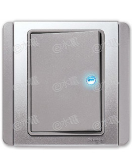 Schneider Electric Neo / E3000 10A 1 gang 2 way horizontal dolly switch with Blue LED (Grey Silver)