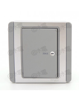 Schneider Electric Neo / E3000 20A 1 gang horizontal double pole switch with LED (Grey Silver)