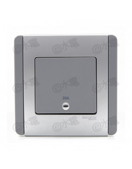 Schneider Electric Neo / E3000 20A 1 gang vertical double pole switch with Blue LED (Grey Silver)