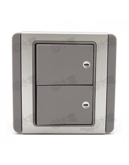Schneider Electric Neo / E3000 2 gang 1 way horizontal dolly switch with Blue LED (Grey Silver)