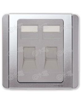 Schneider Electric Neo / E3000 2 gang shuttered wallplate (Without modular jack) (Grey Silver)
