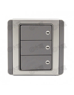 Schneider Electric Neo / E3000 10A 3 gang 1 way horizontal dolly switch with Blue LED (Grey Silver)