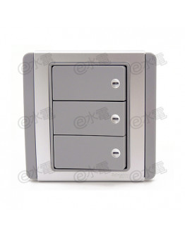 Schneider Electric Neo / E3000 10A 3 gang 2 way horizontal dolly switch with Blue LED (Grey Silver)