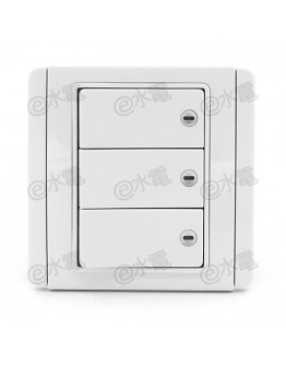 Schneider Electric Neo / E3000 10A 3 gang 2 way horizontal dolly switch with White LED (White)
