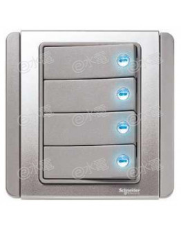 Schneider Electric Neo / E3000 10A 4 gang 1 way horizontal dolly switch with blue LED (Grey Silver)