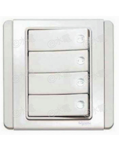 Schneider Electric Neo / E3000 10A 4 gang 1 way horizontal dolly switch with White LED (White)