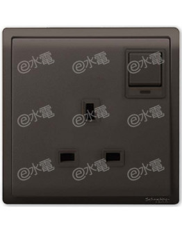 Schneider Electric PIENO 13A 1 Gang Switched Socket with Neon (Matt Black)