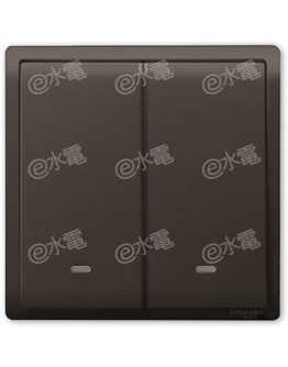 Schneider Electric PIENO 16AX 2 Gang 2 Way Switch with Fluorescent Locator (Matt Black)