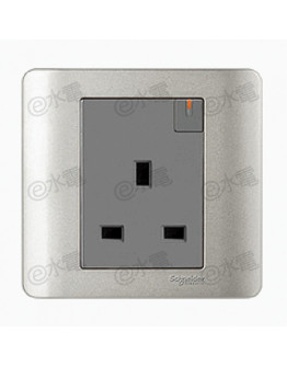 Schneider Electric ZENcelo 13A 1 Gang Switched Socket with Ondicator (Siver Satin)