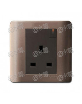 Schneider Electric ZENcelo 13A 1 Gang Switched Socket with Ondicator (Silver Bronze)