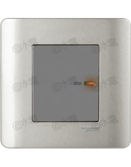 Schneider Electric ZENcelo 20A 1 Gang Full-Flat Double Pole Switch with Neon (Silver Satin)