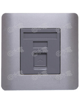 Schneider Electric ZENcelo 1 Gang Keystone on Shuttered Wallplate without Modular Jack (Silver Satin)