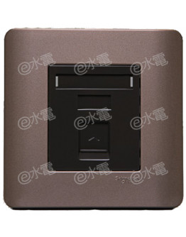 Schneider Electric ZENcelo 1 Gang Keystone on Shuttered Wallplate without Modular Jack (Silver Bronze)