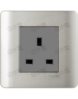 Schneider Electric ZENcelo 13A 1 Gang Socket (Silver Satin)
