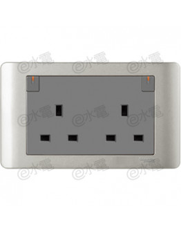 Schneider Electric ZENcelo 13A Twin Gang Switched Socket with Ondicator (Silver Satin)