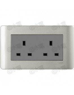 Schneider Electric ZENcelo 13A Twin Gang Socket (Silver Satin)