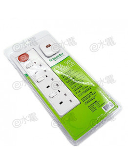 Schneider Electric Powex 13A 3 Gang Extension Socket with Neon (with 3 meters cable) (White)
