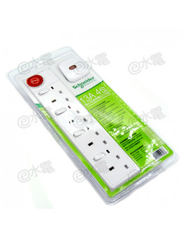 Schneider Electric Powex 13A 4 Gang Extension Socket with Neon (with 3 meters cable) (White)