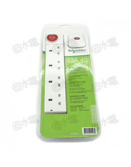 Schneider Electric Powex 13A 4 Gang Extension Socket (with 3 meters cable) (White)