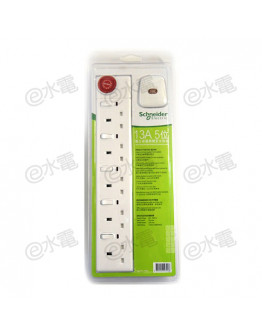 Schneider Electric Powex 13A 5 Gang Extension Socket with Neon (with 3 meters cable) (White)