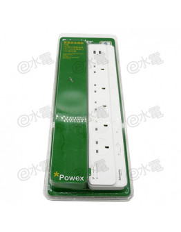 Schneider Electric Powex 13A 5 Gang Extension Socket with Neon + 2 USB ports (with 2 meters cable) (White)