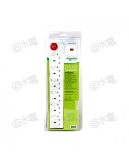 Schneider Electric Powex 13A 6 Gang Extension Socket with Neon (with 3 meters cable) (White)