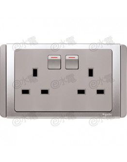 Schneider Electric Neo / E3000 13A twin switched socket outlet (Grey Silver)