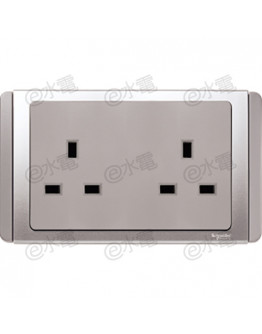 Schneider Electric Neo / E3000 13A twin socket outlet (Grey Silver)