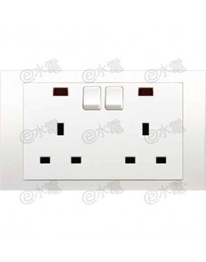 Schneider Electric Vivace 13A Twin Gang Switched Socket with Neon
