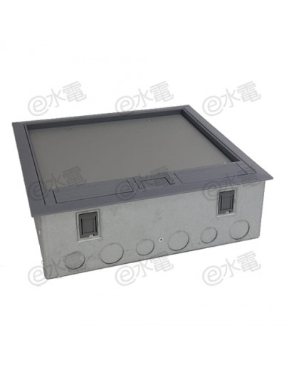 MK 3-compartment floor outlet box without any mounting plates and socket outlet