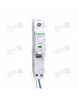 Schneider MG iC60N 10A 6kA 1 Pole + Neutral Residual current breaker with overcurrent protection (RCBO) White