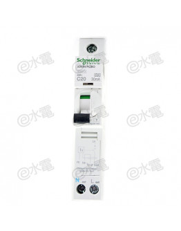 Schneider MG iC60N 20A 6kA 1 Pole + Neutral Residual current breaker with overcurrent protection (RCBO) White